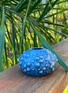 Ceramic Blue Sea Urchin vase