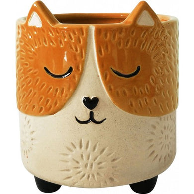 Small Cat Planter orange/sand
