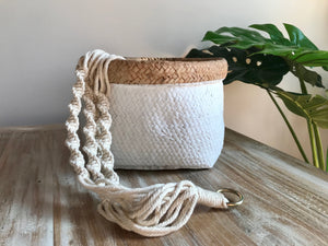 Large Terracotta Hanging Pot White Dipped