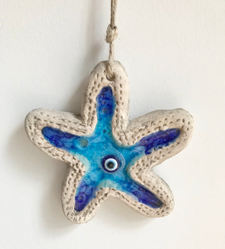 Glazed Pottery - Hanging Star Fish Aqua Blue