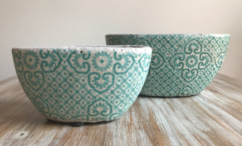 Ceramic Blue Oval Pots