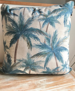 New Blue Palm Pillow