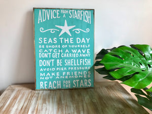 Wooden Starfish Advice Quote