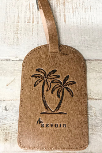 Palm Tree Leather Travel Tag
