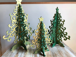 Wooden Christmas - Large Trees set of 3