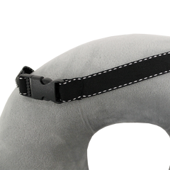 Memory Foam Neck Pillow With Carry Strap - Grey