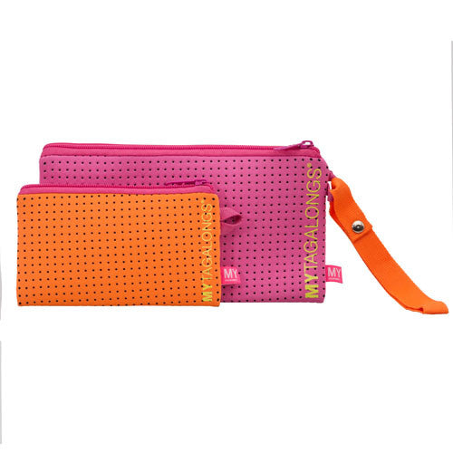Duo Wristlet Pouch - Endless Summer (Pink / Orange)