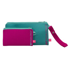 Duo Wristlet Pouch - Endless Summer (Teal / Pink)