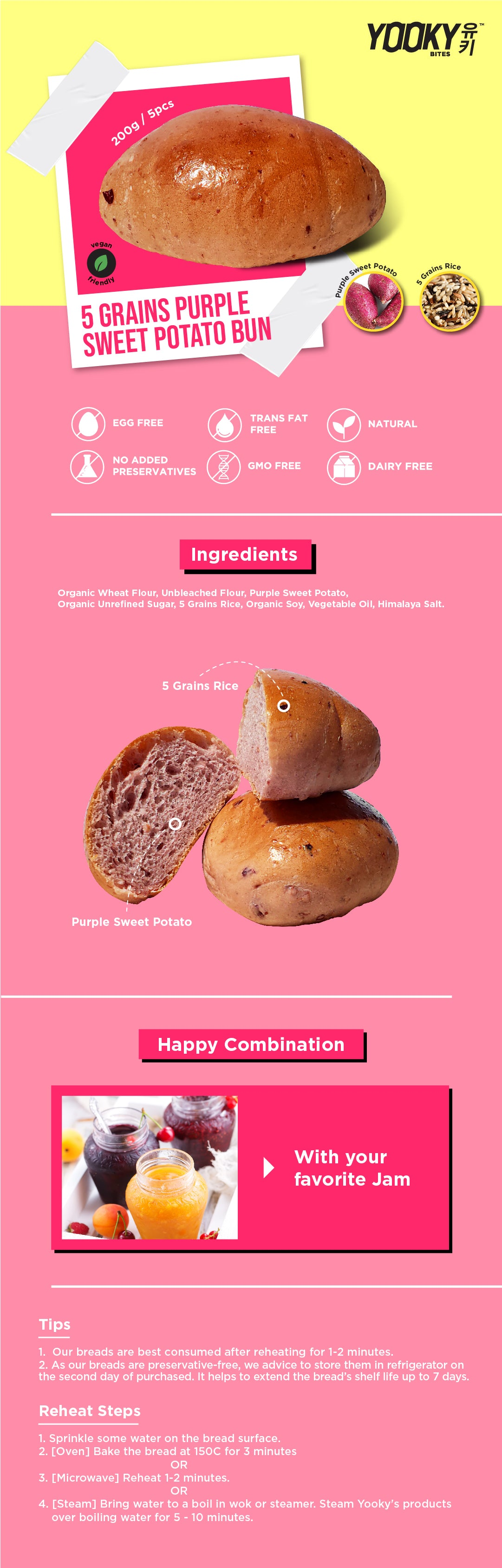 5 Grains Purple Sweet Potato Bun