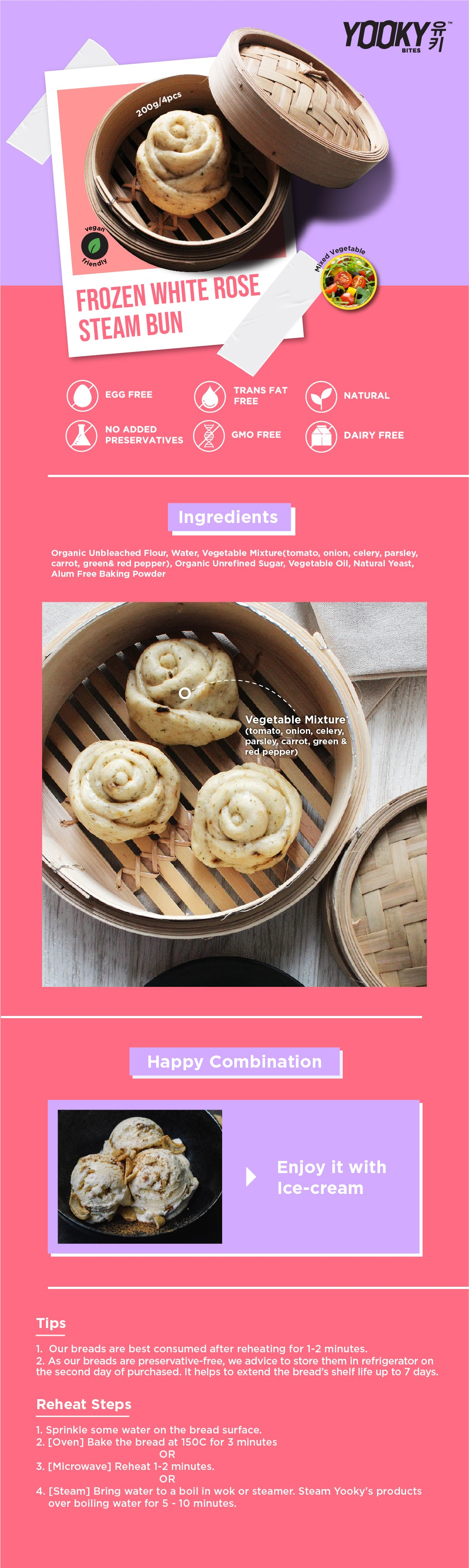 Frozen White Rose Steam Bun Product Description