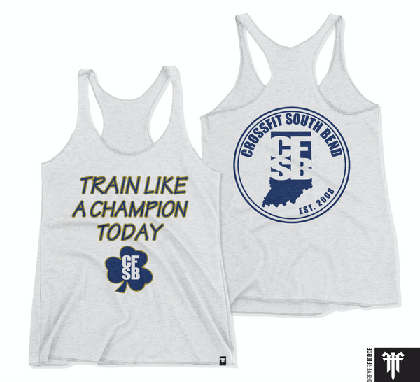 Racerback Train Like a Champion Heather/Navy/Gold