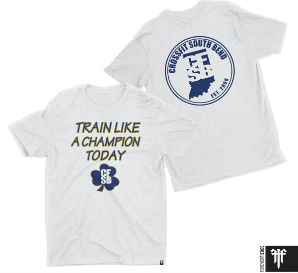 Train Like a Champion Heather White/Navy/Gold