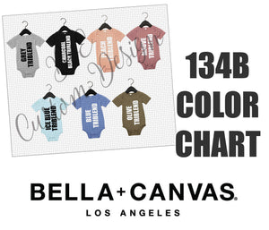 Bella 134B Triblend Baby Bodysuit Color Chart