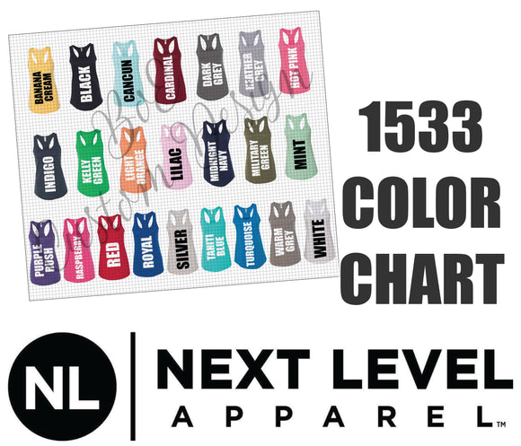 Next Level 1533 Ladies Racerback Tank Top Color Chart