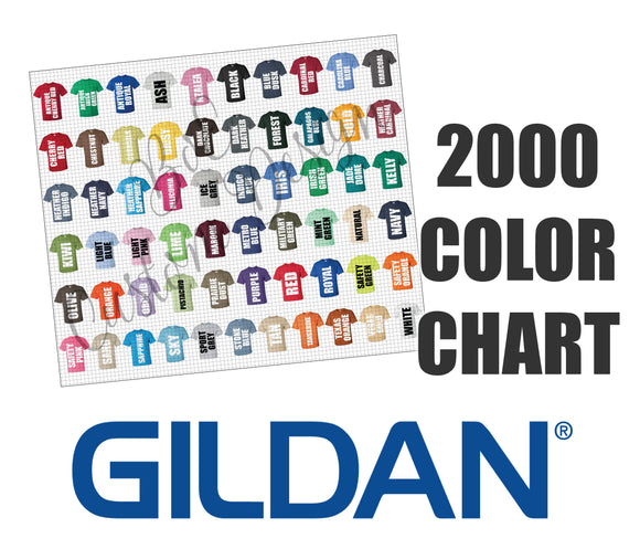 Gildan 2000 Unisex T-Shirt Color Chart