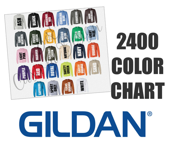 Gildan 2400 Unisex Long Sleeve Color Chart