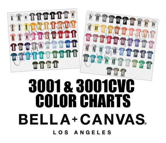 Bella 3001 & 3001CVC Unisex T-Shirt Color Charts