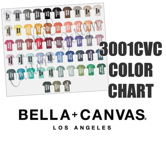 Bella 3001CVC Unisex T-Shirt Color Chart