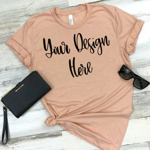 Bella Canvas 3001 Heather Peach Unisex T-Shirt Styled Mockup Photo #2