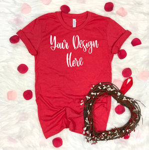 Valentine's Day Bella 3001 Heather Red Mockup Photo #1