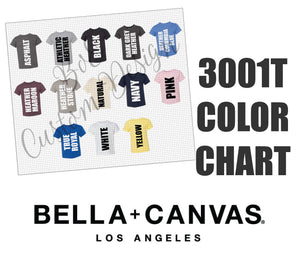 Bella 3001T Toddler Unisex T-Shirt Color Chart