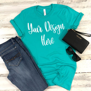 Bella Canvas 3001 Teal Unisex T-Shirt Styled Mockup Photo #2