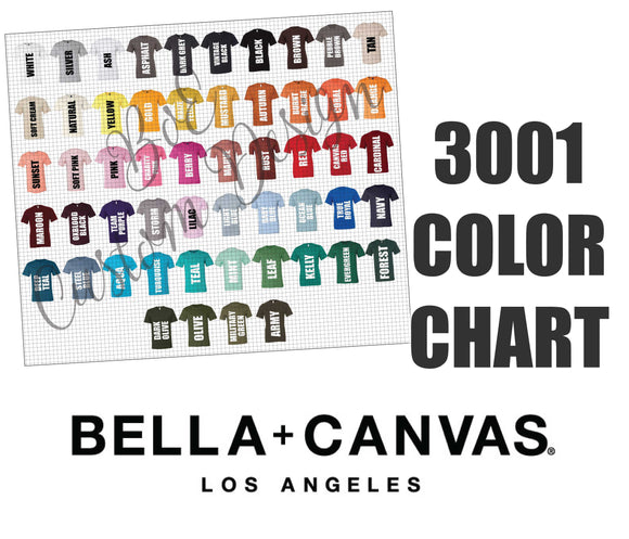 Bella 3001 Unisex T-Shirt Color Chart