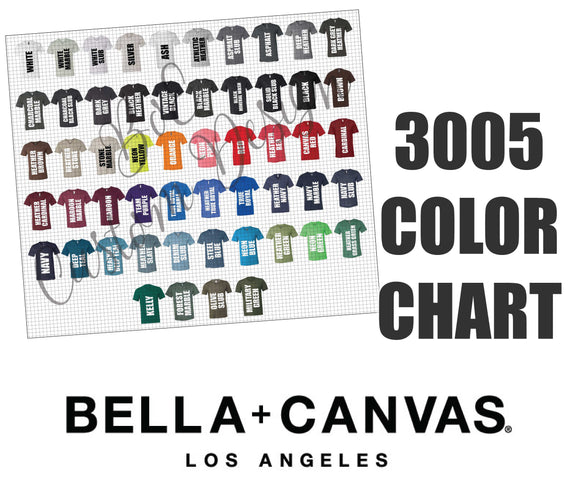 Bella 3005 Unisex V-Neck Color Chart