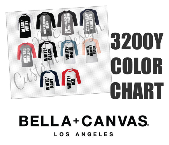 Bella 3200Y Unisex Youth Raglan Baseball Shirt Color Chart