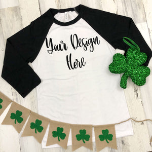 St. Patrick's Day Bella 3200 Black/White Raglan Mockup Photo
