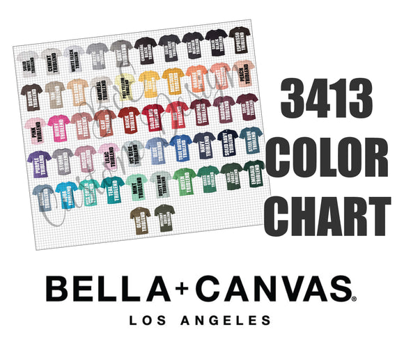 Bella 3413 Unisex Triblend T-Shirt Color Chart