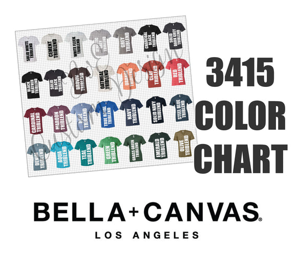Bella 3415 Unisex Triblend V-Neck Color Chart