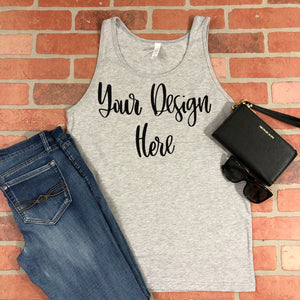 Bella Canvas 3480 Athletic Heather Grey Unisex Tank Top Styled Mockup Photo