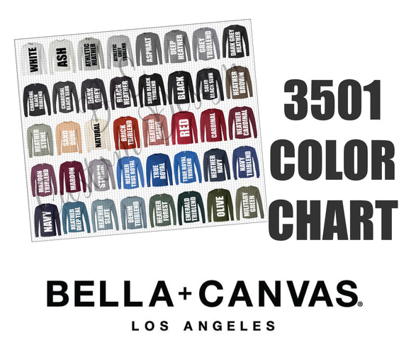 Bella 3501 Unisex Long Sleeve Color Chart
