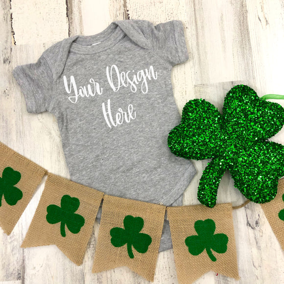 St. Patrick's Day Rabbit Skins 4400 Heather Grey Mockup Photo