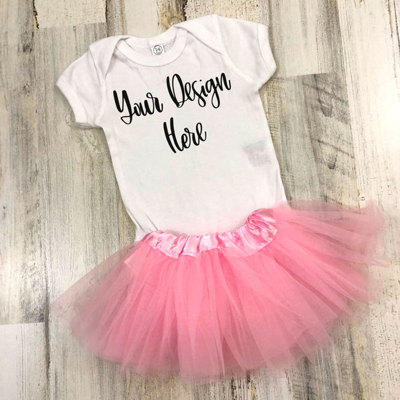 Rabbit Skins 4400 White with Pink Tutu Mockup Photo