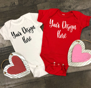 Valentine's Day Rabbit Skins 4400 Baby Bodysuit Mockup Photo