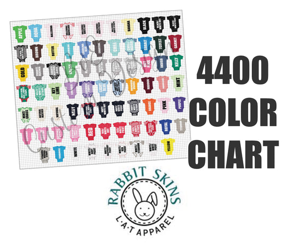 Rabbit Skins 4400 Baby Bodsuit Color Chart