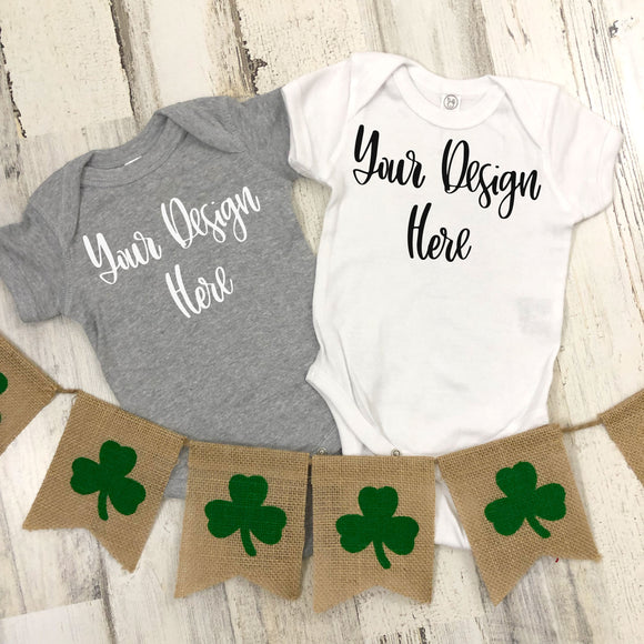 St. Patrick's Day Rabbit Skins 4400 Heather Grey & White Mockup Photo