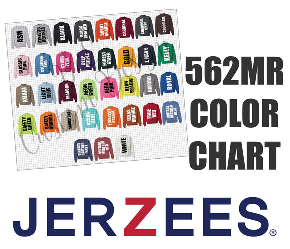 Jerzees 562MR Unisex Sweatshirt Color Chart