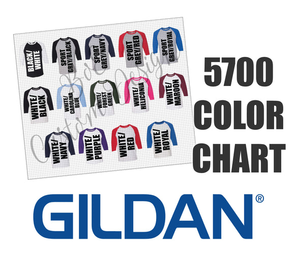 Gildan 5700 Unisex 3/4 Sleeve Raglan Baseball Shirt Color Chart