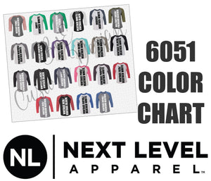 Next Level 6051 Unisex 3/4 Sleeve Raglan Baseball Shirt Color Chart