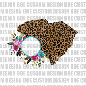 Boho Floral South Carolina Leopard Print Monogram Frame Clipart