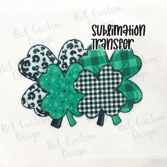 Leopard, Plaid, Patterned Clovers Sublimation Transfer
