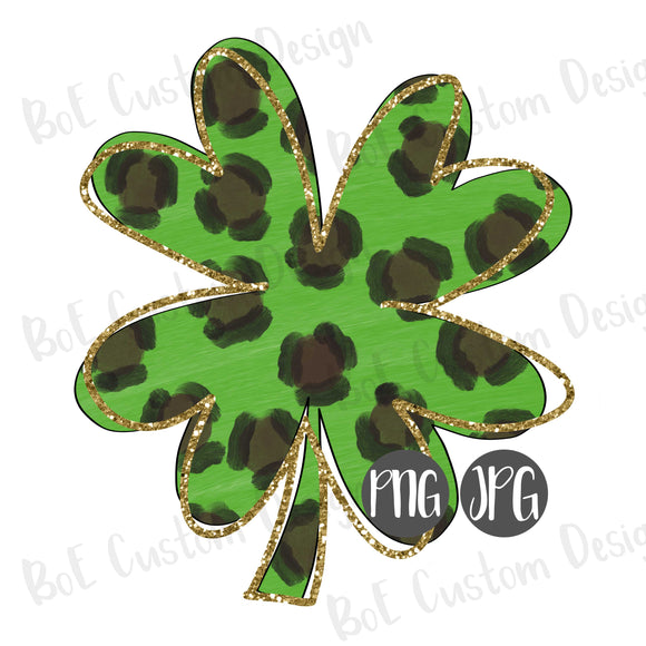 Leopard Shamrock St. Patrick's Day Clipart with Glitter