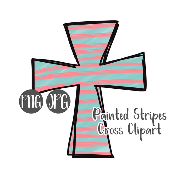 Painted Stripes Cross Clipart