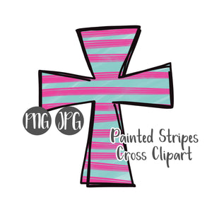 Painted Stripes Cross Clipart #2
