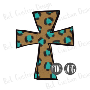 Painted Leopard Cross Clipart