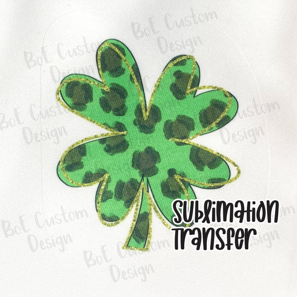 Green Leopard Print Clover St. Patrick's Day Sublimation Transfer