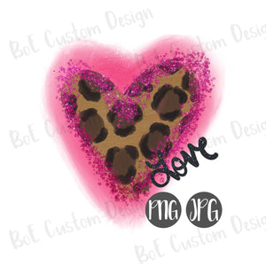 Leopard Heart Valentine's Day Clipart with Glitter